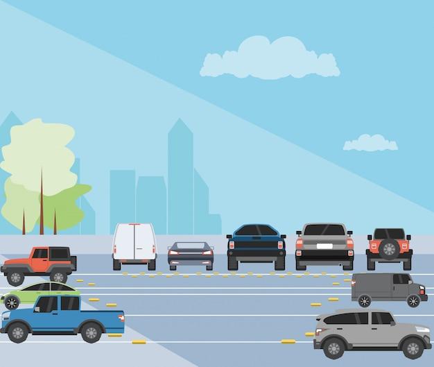 Illustrazione di scena urbana di zona di parcheggio