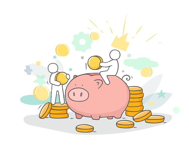 Illustrazione di schizzo con piccole persone e monete.