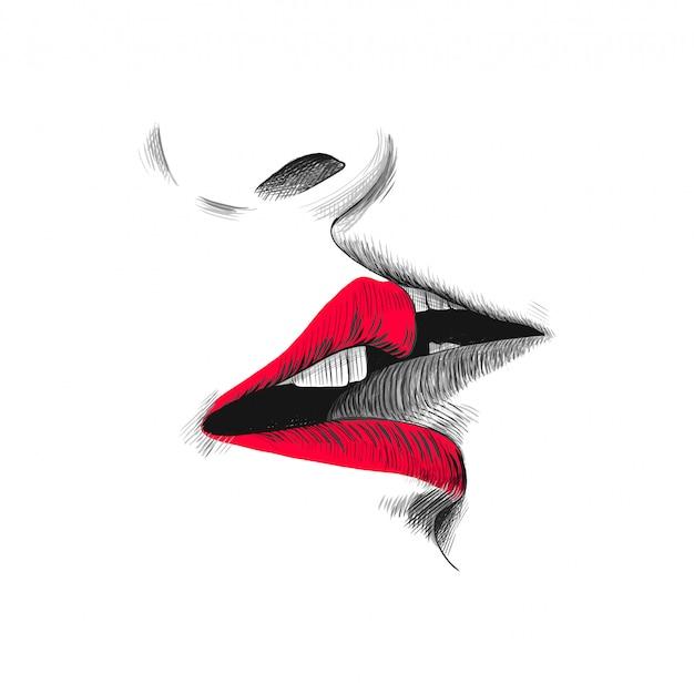 Illustrazione di schizzo di bacio, doodle disegnato a mano nero, rosso e bianco