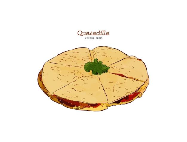 Illustrazione di schizzo di cibo messicano di quesadilla.