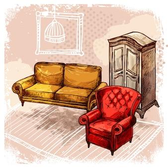 Illustrazione di schizzo di mobili