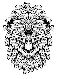 Illustrazione di schizzo disegnato a mano della testa del leone per libro da colorare adulto, t-shirt, tatuaggio, zentangle