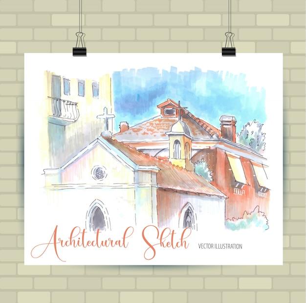 Illustrazione di schizzo nel vettore. poster con belle case.