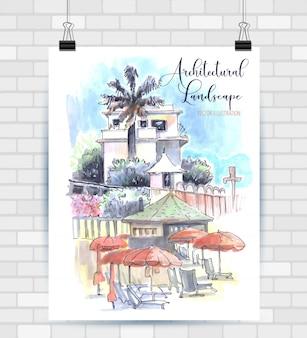 Illustrazione di schizzo nel vettore. poster con bellissimo paesaggio e casa.