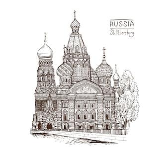 Illustrazione di schizzo. vetrina turistica. sobor resurrezione sul sangue versato o chiesa del nostro salvatore a san pietroburgo, russia