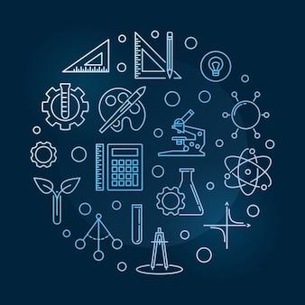 Illustrazione di scienza, tecnologia, ingegneria, arti e matematica