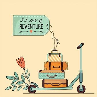 Illustrazione di scooter e bagagli su sfondo isolato