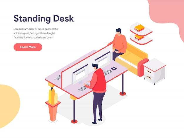 Illustrazione di scrivania in piedi