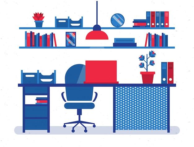 Illustrazione di scrivania ufficio rosso e blu-lat