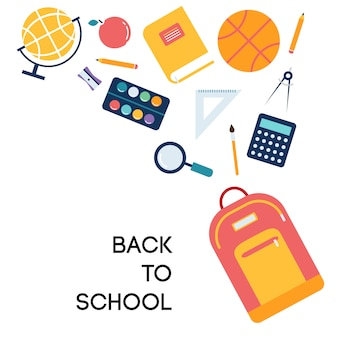 Illustrazione di scuola e sfondo con icone