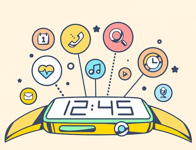 Illustrazione di semplice orologio intelligente con pulsante e applicazioni su sfondo chiaro.