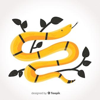 Illustrazione di serpente a strisce disegnate a mano