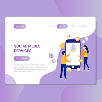 Illustrazione di servizi di media sociali per sito web