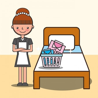 Illustrazione di servizio alberghiero di persone