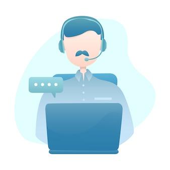 Illustrazione di servizio di assistenza al cliente con cuffia avricolare di usura dell'uomo che chiacchiera con il cliente tramite computer portatile