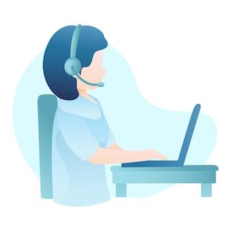 Illustrazione di servizio di assistenza al cliente con la cuffia avricolare di usura della donna e digitare al computer portatile
