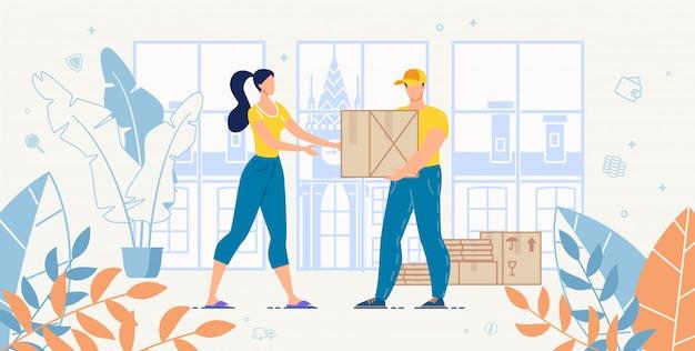 Illustrazione di servizio di consegna a domicilio del trasporto del carico