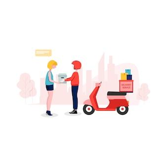 Illustrazione di servizio di consegna in stile piano