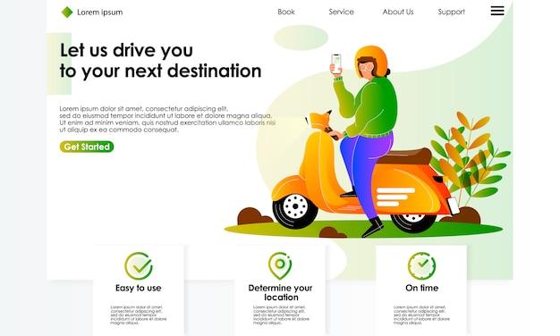 Illustrazione di servizio di motocicletta di ordine di applicazione mobile online per pagina di destinazione