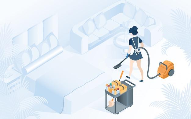 Illustrazione di servizio di pulizia della camera di albergo della domestica