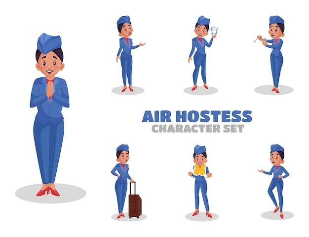 Illustrazione di set di caratteri hostess di aria