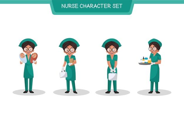 Illustrazione di set di caratteri infermiere