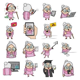 Illustrazione di set di donna anziana.