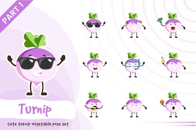 Illustrazione di set di verdure di rapa carino