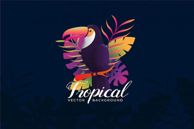Illustrazione di sfondo con tema tropicale toucan