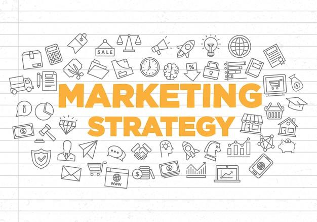 Illustrazione di sfondo creativo di strategia di marketing