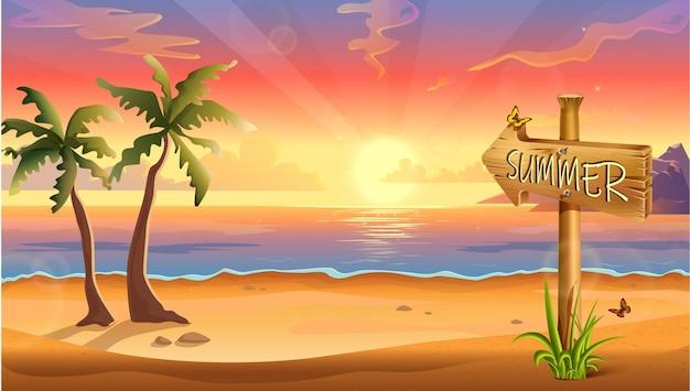 Illustrazione di sfondo destinazione estate, spiaggia tropicale con palme e cartello in legno.