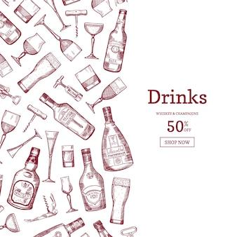 Illustrazione di sfondo disegnati a mano stile lineare bottiglie e bicchieri di bevande alcoliche