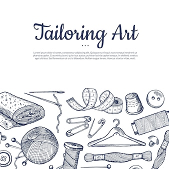 Illustrazione di sfondo disegnato a mano elementi da cucire con posto per testo