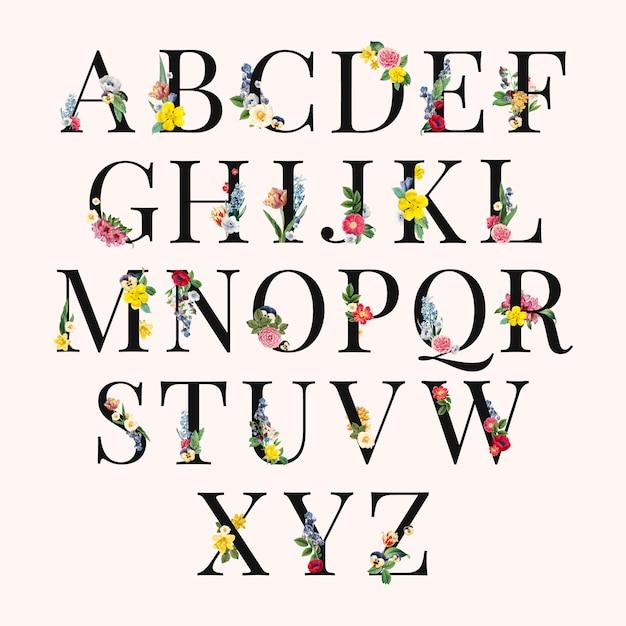 Illustrazione di sfondo floreale alfabeto