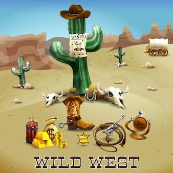 Illustrazione di sfondo selvaggio west
