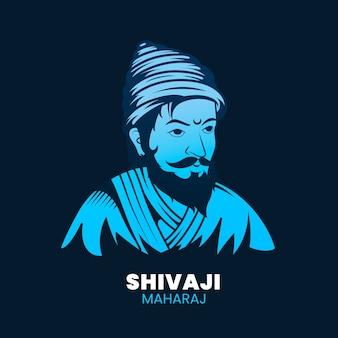 Illustrazione di shivaji maharaj con carattere