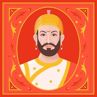 Illustrazione di shivaji maharaj vista frontale
