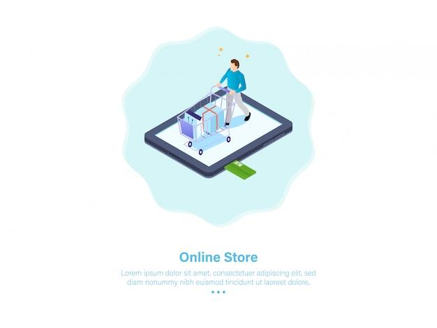 Illustrazione di shoping online maschio