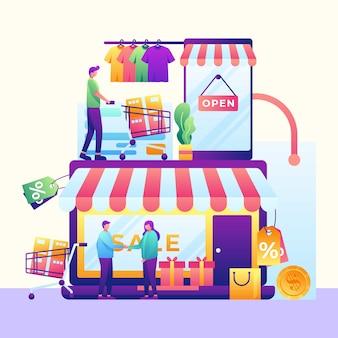 Illustrazione di shopping online mobile