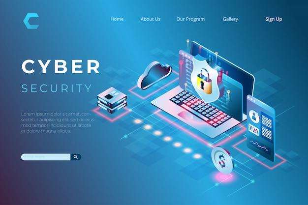 Illustrazione di sicurezza informatica con un simbolo di scudo, protezione di dati e informazioni con il concetto di landing page isometriche e intestazioni web