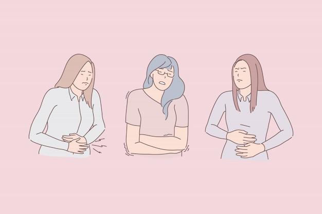 Illustrazione di sintomi di mal di stomaco.