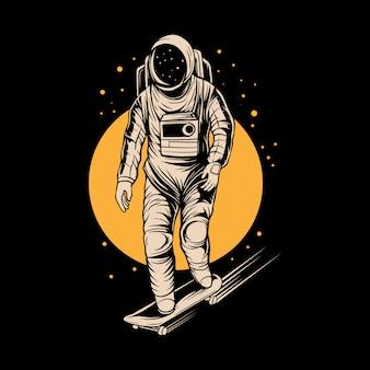 Illustrazione di skateboard astronauta sullo spazio