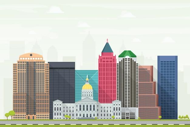 Illustrazione di skyline della città di atlanta