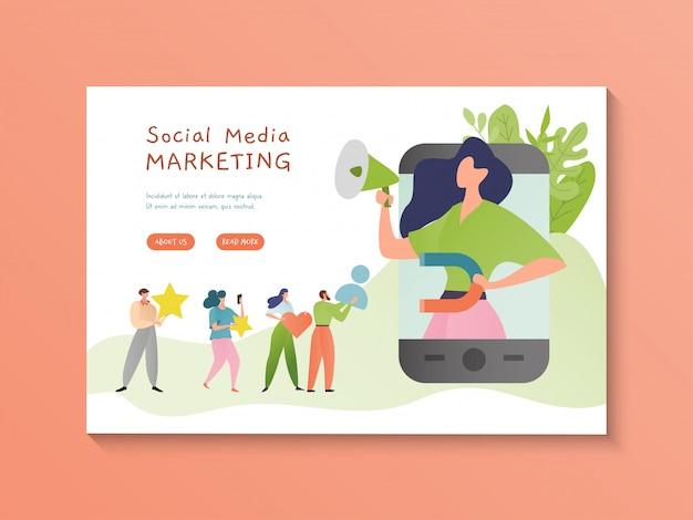 Illustrazione di social media marketing. contenuti multimediali video online. concetto di marketing digitale. personaggio dei cartoni animati di donna