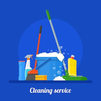 Illustrazione di società di servizi di pulizia