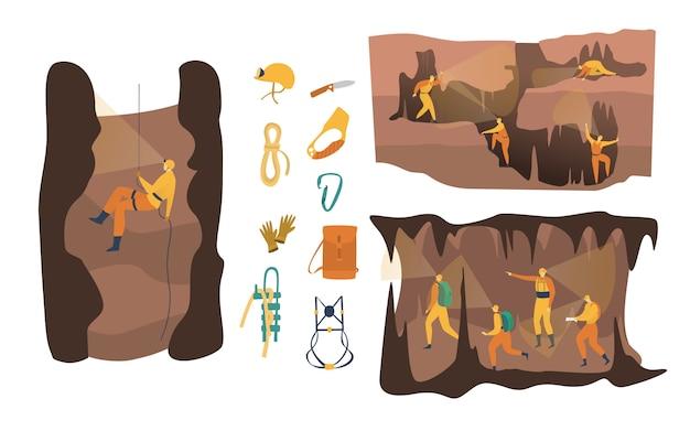 Illustrazione di speleologia della caverna, personaggio attivo dello speleologo del fumetto nell'avventura, gente che si arrampica, insieme di discesa in corda doppia isolato su bianco
