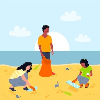 Illustrazione di spiaggia pulizia persone