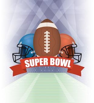Illustrazione di sport del superbowl con caschi e palloncino