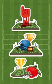 Illustrazione di sport del superbowl con gli elementi stabiliti dell'attrezzatura