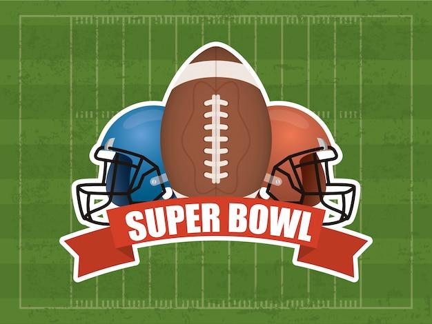Illustrazione di sport del superbowl con palloncino e casco
